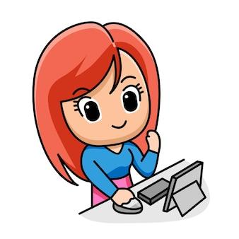 Jonge zakenvrouw bezig met laptop cartoon