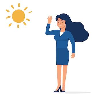 Jonge zakenvrouw die zich uitgeput voelt in de zomer