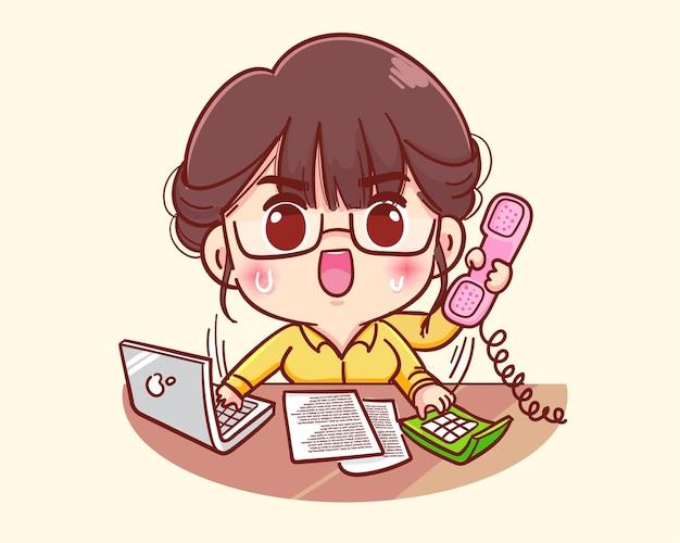 Jonge zakenvrouw drukke multitasking cartoon afbeelding