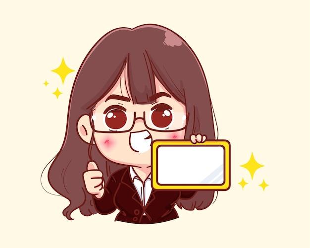 Jonge zakenvrouw met tablet en duim omhoog cartoon afbeelding