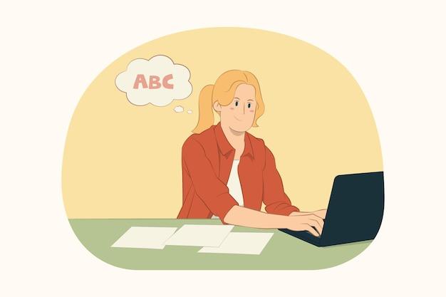 Jonge zakenvrouw zit aan het werk aan een bureau met pc-laptopcomputerconcept