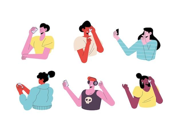 Jonge zes personen die de illustratie van technologiekarakters dragen