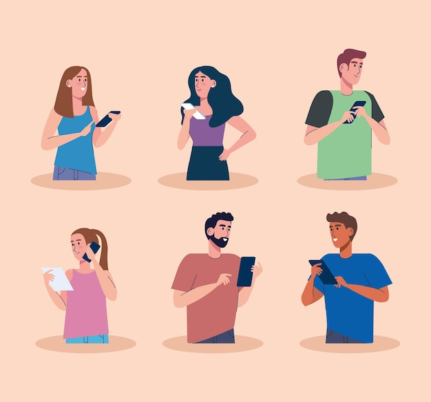 Jonge zes personen die het ontwerp van de het technologieontwerp van smartphones gebruiken