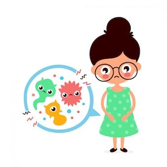 Jonge zieke vrouw met buikpijn, voedselvergiftiging, maagproblemen, buikpijn.