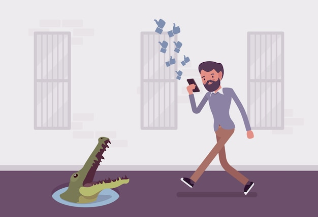 Jonge zorgeloze man lopen met telefoon, krokodil in de put