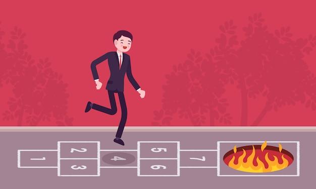 Jonge zorgeloze zakenman hinkelspel spelen