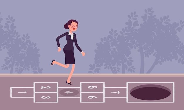 Jonge zorgeloze zakenvrouw spelen hinkelspel, pit vooraan