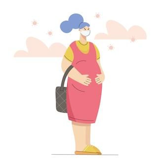 Jonge zwangere vrouw die medisch masker draagt, denkend en zich over coronavirusbesmetting ongerust maakt. virusgevaar voor zwangerschap Premium Vector