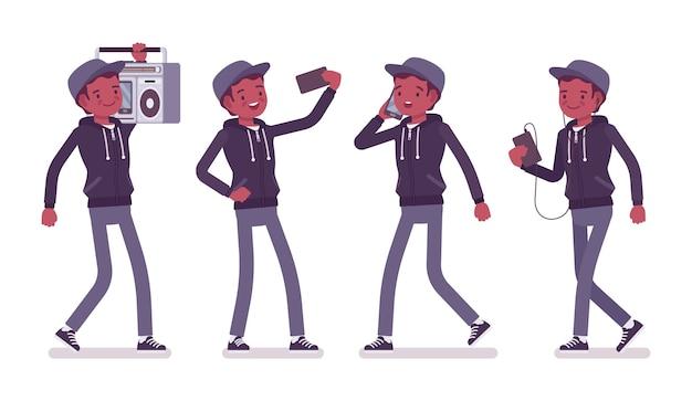 Jonge zwarte man met gadgets