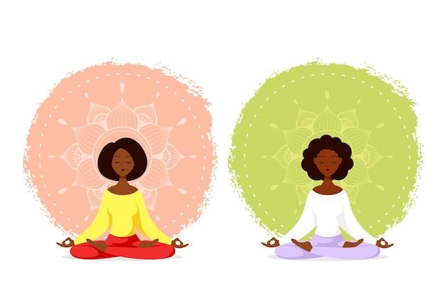 Jonge zwarte vrouw zit in lotus pose met mandala design. beoefening van yoga en meditatie. vlakke stijlillustratie geïsoleerd