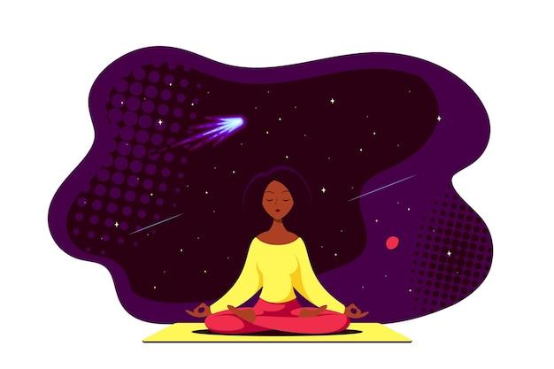 Jonge zwarte vrouw zitten in lotus pose met kosmische ruimte rond. beoefening van yoga en meditatie. vlakke stijl illustratie geïsoleerd