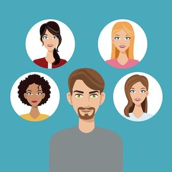 Jongeman baard gemeenschap gezichten pictogram