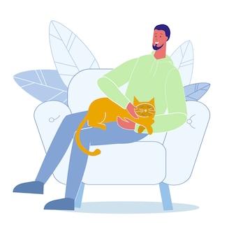Jongeman fondles cat flat