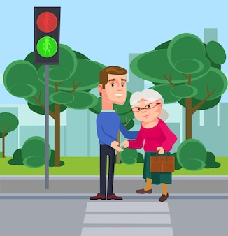 Jongeman karakter helpen oude vrouw de straat over te steken