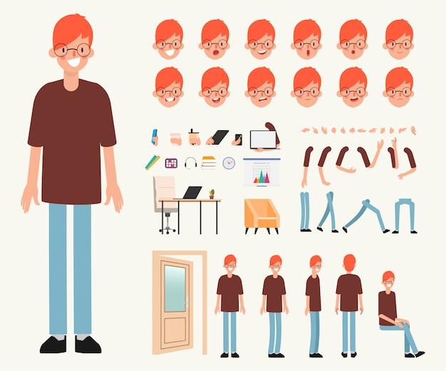 Jongeman karakter klaar voor animatie.