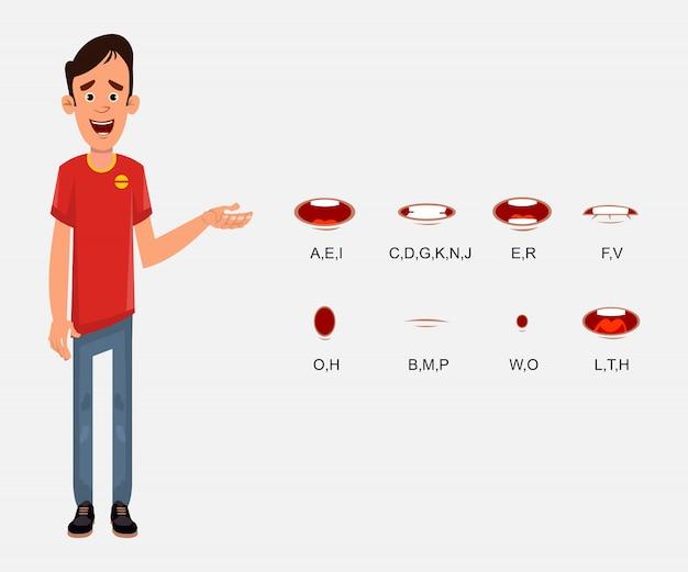 Jongeman karakter met lip sync ingesteld voor uw ontwerp, beweging en animatie.