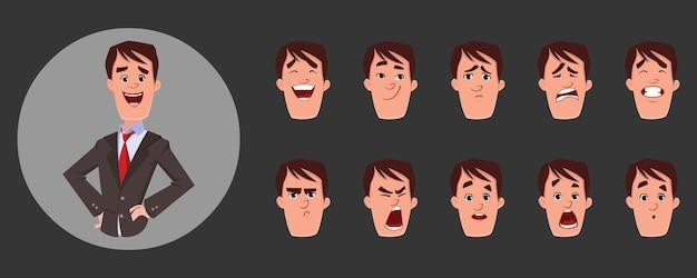 Jongeman karakter met verschillende gezichts-emoties en lip sync. teken voor aangepaste animatie.