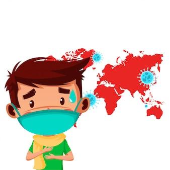 Jongeman maakt zich zorgen over covid19 infecteert veel landen over de hele wereld