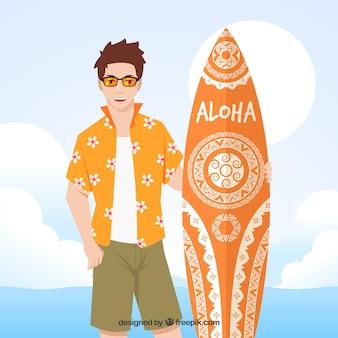Jongen achtergrond met hawaiiaanse t-shirt en surfplank