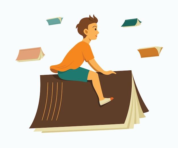 Jongen berijdt een boek en geniet van fly to learning journey.