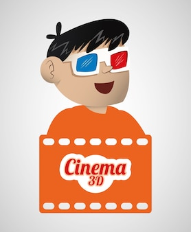 Jongen bioscoop 3d bril banner