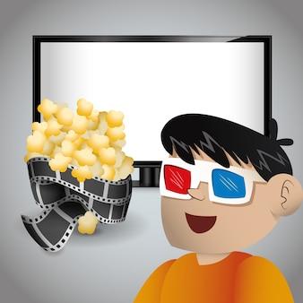 Jongen bioscoop 3d bril tv en pop maïs