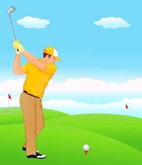 Jongen cartoon golfspeler