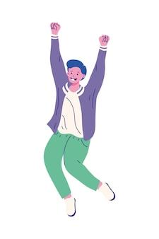 Jongen cartoon met handen omhoog