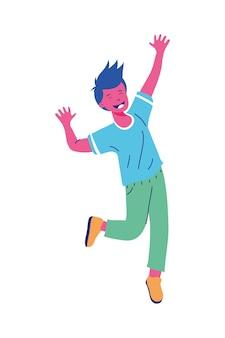 Jongen cartoon springen