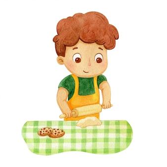 Jongen chocolade koekjes bakken. karakterillustratie van een jong geitje
