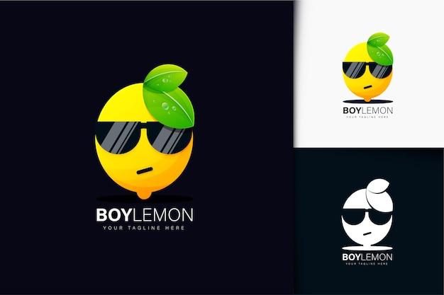 Jongen citroen met zonnebril logo-ontwerp