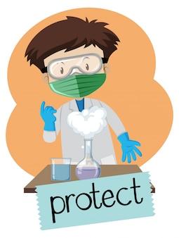 Jongen die beschermingspunten in laboratorium draagt