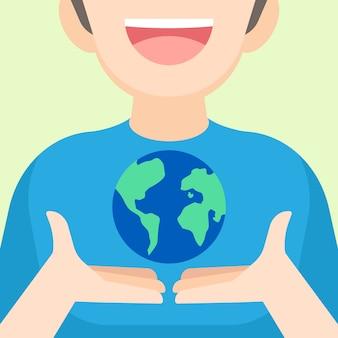 Jongen die de aarde in handen houdt
