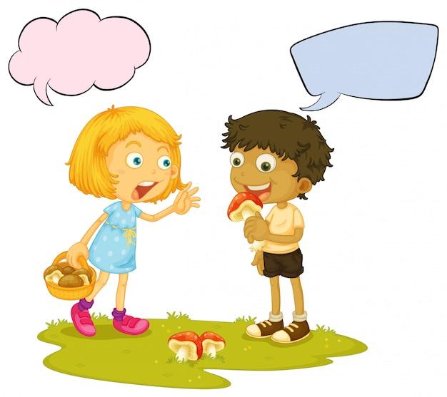 Jongen die de ballon van de paddestoeltoespraak eet