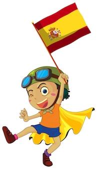 Jongen die de vlag van spanje vasthoudt