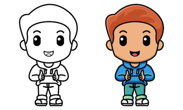 Jongen die duimen omhoog tekent met beide handen kleurplaat voor kinderen