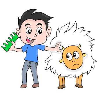 Jongen die een kam draagt die zijn huisdierenbont kamt, vectorillustratieart. doodle pictogram afbeelding kawaii.