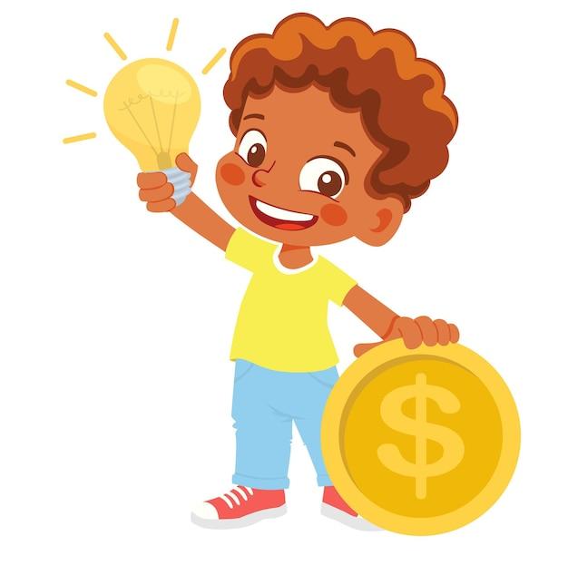 Jongen die elektrische lamp en geld houdt