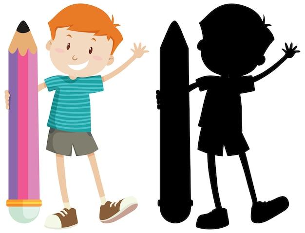Jongen die groot potlood in kleur en silhouet houdt