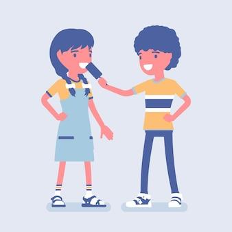 Jongen die ijs deelt met een vriendin. kind dat wat eskimotaart geeft om van te genieten, wederzijds vertrouwen, vriendelijkheid en steun tussen tieners, gebaar dat liefde, zorg biedt. cartoon vectorillustratie in vlakke stijl