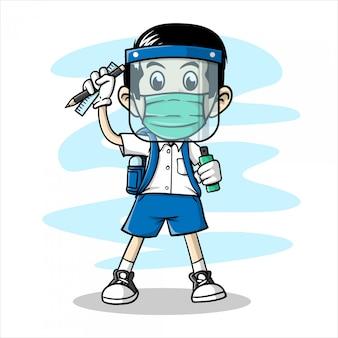 Jongen die in hand getrokken gezichtsmasker en gezichtsschild draagt