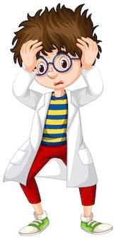 Jongen die in wetenschapstoga ongerust gemaakt kijkt