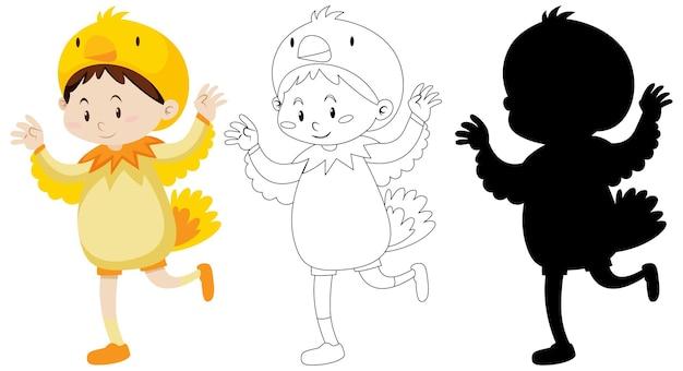 Jongen die kippenkostuum met zijn omtrek en silhouet draagt