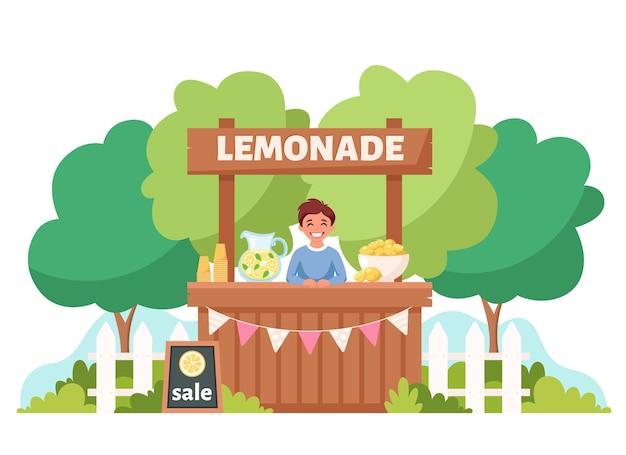 Jongen die koude limonade verkoopt in limonadekraam