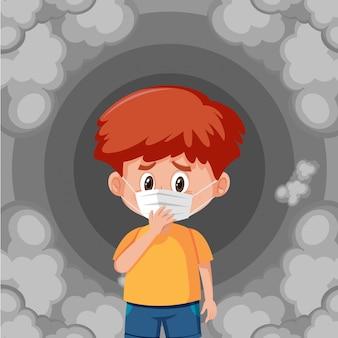 Jongen die masker draagt dat zich in vuile rook bevindt
