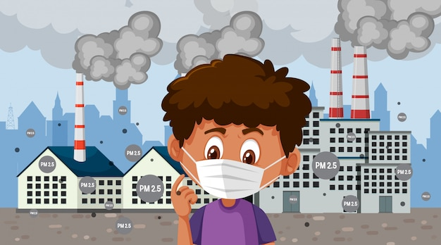 Jongen die masker draagt dat zich voor fabrieksgebouwen bevindt