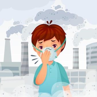 Jongen die masker n95 draagt. stof pm 2,5 luchtvervuiling, jonge mannen adembescherming en veilige gezichtsmasker cartoon illustratie