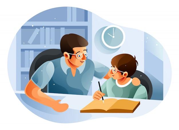 Jongen die met vader thuis bestudeert