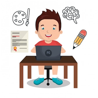 Jongen die online geïsoleerd pictogramontwerp bestudeert