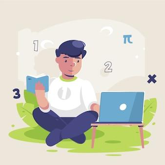 Jongen die online lessen neemt